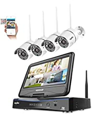 """SANNCE 720P 4CH HD Wireless NVR Security Camera System Build-in 10.1"""" LCD Monitor with 4x1.0MP Weatherproof IP Cameras CCTV Surveillance kits, Smart phone Scan QR Code Quick Remote Access NO HDD"""