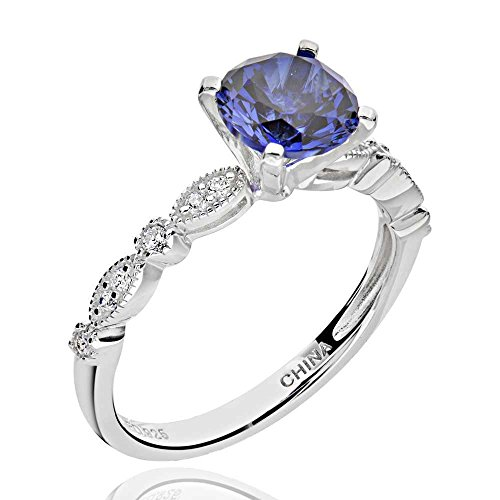 Blue Sapphire Ring Cubic Zirconia (Sterling Silver 2 Ct Round Created Blue Sapphire & Cubic Zirconia Ring Sz 7)