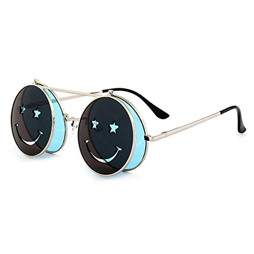 10b7d292462943 Métal Frame Flip-up lunettes de soleil pour hommes femmes hibote Steampunk  Round Lens C5