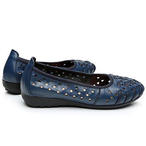 Rismart Mujer Hueco Comodidad Ponerse Espacio De Trabajo Inteligente Cuero Mocasines Zapatos Azul Real