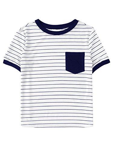 Girls Short Sleeve Ringer - SweatyRocks Women's Basic Striped Short Sleeve Ringer Tee Patch Pocket TShirt Tops Navy S
