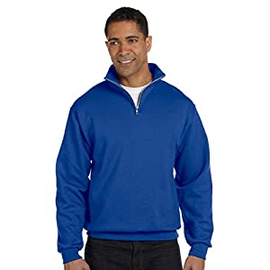 Jerzees Mens 995 Quarter-Zip Cadet-Collar Sweatshirt, Black, Large