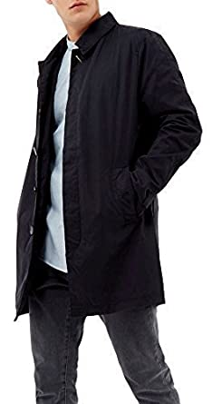 SS7 Men's Casual Fully Lined Trench Coat, Black, Sizes S M L XL