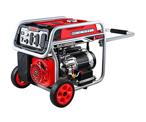 A-iPower SUA10000EC 10000-Watt Portable Generator W/Electric Start CARB Complied, 10000 Rated Watt/8000 Running Watt, Red & Gary