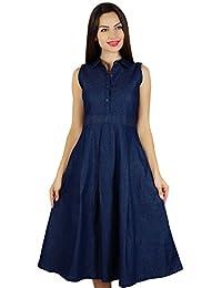 Bimba Women Sleeveless Pleated A-line Dress With Pockets Denim Shift Shirt Dress