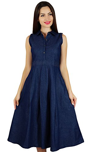 Bimba Womens Sleeveless Pleated A-line Dress With Pockets Casual Denim Shift Shirt Dress Denim Blue Jean Dress