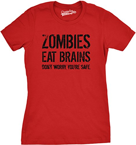 Womens Zombies Eat Brains Shirt Funny Zombie T shirts Living Dead Zombie Outbreak Tees (Red) XXL Eat Dog T-shirt