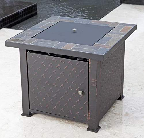 - Jar Outdoor- Firepit Table for Outside-Portable Propane Fire Pit-Cozy Fire Ambiance for Nights Spent at Your Patio-Color Brushed Bronze Steel