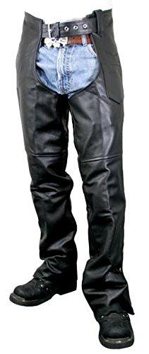 Xelement B7552 Mens Black Easy Fit Premium Motorcycle Chaps - 36