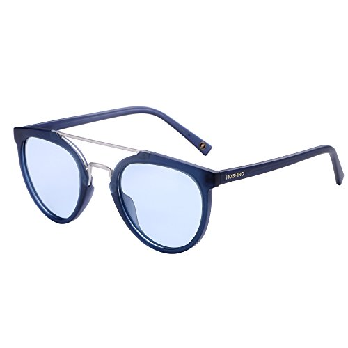 Hoishing Polarized Retro Round with Double Metal Crossbar Sunglasses for Women Men UV 400 Protection (Matte Blue, Blue) ()