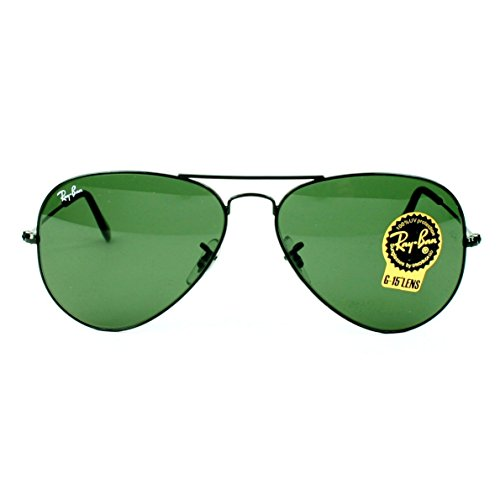Rayban RB3025 L2823 Black Ray-Ban Aviator Green Lens Sunglasses 58mm - Aviator Ray Rb3025 Ban L2823