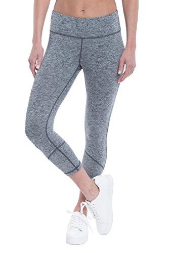 Penn Women's Pop Stitch Marled Capri Leggings - Spandex Crop Compression Pants - Dim Grey Heather Pop, X-Small