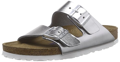 Birkenstock Arizona Narrow Fit - Liquid Silver Leather 1000062 Womens Sandals 38 EU (Leather Liquid Silver)