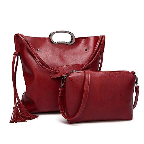 Shopper Nouveau Audburn En Rouge Bandoulière Sauvage Casual Capacité À Fourre Vintage Cuir Sac Pour Épaule Messenger Femme tout Grande T4fqC4dB