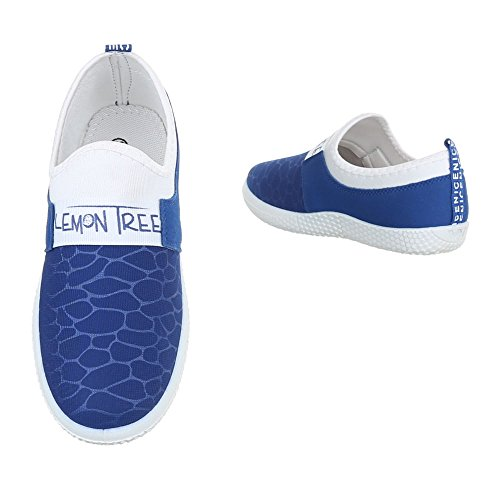 Ital-Design Slipper Damenschuhe Low-Top Sneakers Halbschuhe Blau