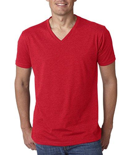 Next Level NL6240 Mens 60% Cotton / 40% Polyester CVC V-Neck Tee - Red - XL (Tee V-neck Cvc)