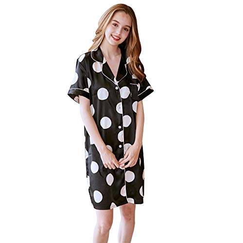- Belle Heure Women's Satin Silky Short Nightshirt Button Down Printed Sleepshirt Loungewear