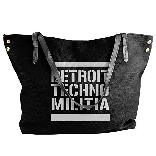 - Fashion Detroit Techno Militia Shoulder Bag Canvas Handbags Tote Bag