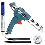 LIUguoo Automatic Soldering Gun Kit 5 in 1, 60W Auto Solder Feed Welding Tool - Universal Soldering Gun Kit, Solder Wire, Desoldering Pump, 2 Tweezers (Blue)