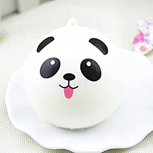 CoscosX 3.3inch Diameter Middle Size Panda Bun Bread Keychains Charms Strap For Bag Cell Phone Car keys, Soft Key Chain, Squishy Kawaii Random Style Toy (1pcs)