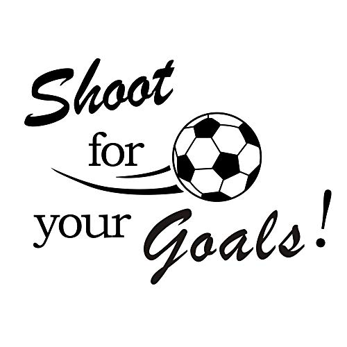 ANBER Shoot for Your Goals Quotes Wall Decals Removable Vinyl Sticker for Boys Room Kids Nursery Bedroom Living Room