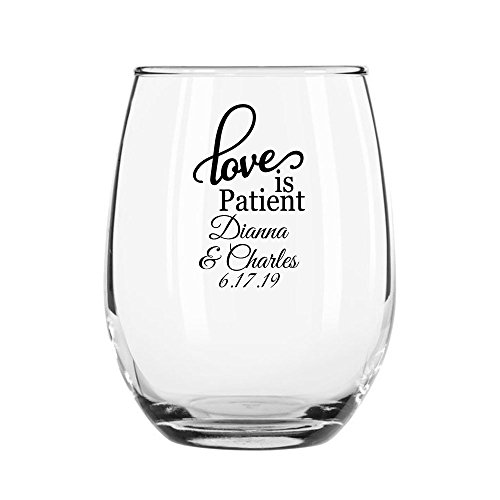 72 Pack Personalized Color Printed 9 Ounce Stemless Wine Glass - Love Is Patient - Black by All Gifts