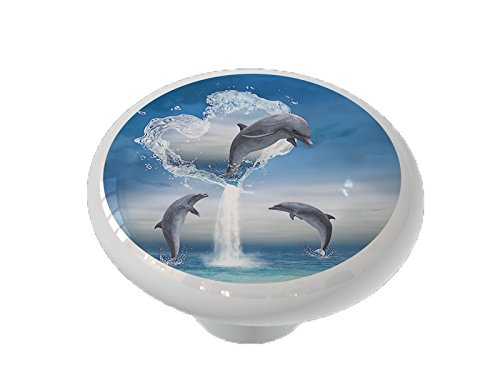 The Heart of the Dolphin Ceramic Drawer Knob
