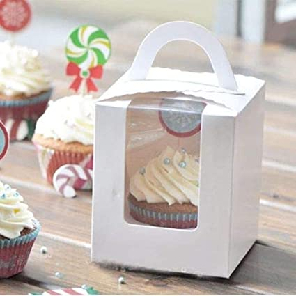 Clear Favor Wedding Party Paper Container Cupcake Gift Candy Cake Box 10Pcs