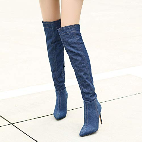 Knee Boots Stiletto Zip Taoffen Shoes Over Women Blue Dark The Half ntYWTWU4q