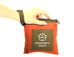 MONKEY MAT Portable Lightweight Indoor/Outdoor 5'x5' Water/Sand Repellent Blanket with Corner Weights & Loops in Compact Pouch (Orange Sunrise)