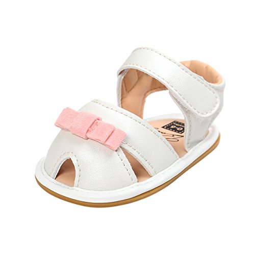 Kuner Baby Girls Cotton Bowknot Rubber Sole Non-slip Outdoor Toddler Summer Sandals First Walkers Shoes (13cm(12-18months), White)