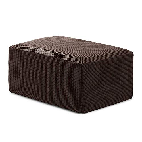 (Veronica Stretch Storage Ottoman Slipcover Spandex Elastic Rectangle Footstool Sofa Cover for Living Room Oversize Chocolate)
