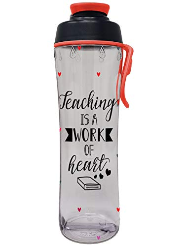 50 Strong Teacher Water Bottle - 24 oz. BPA Free for Teachers - Give Bottles As Thank You Gifts - Show Appreciation for Teachers - Easy Carry Loop - Made in USA (Teacher Hearts, 24 oz.) (Gift Ideas For Teachers To Give Students)