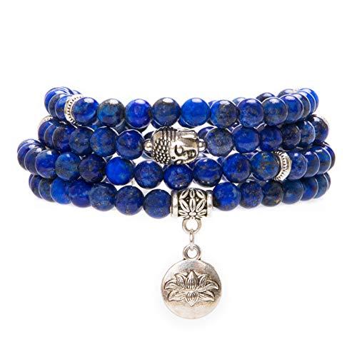 - Bivei 108 Mala Beads Bracelet - Genuine Gemstone Mala Prayer Beads Lotus Charm Meditation Necklace-Lapis Lazuli