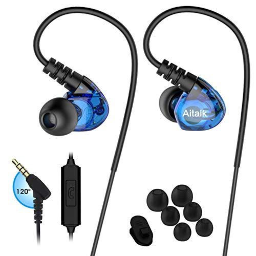 Earbud Headphones in Ear Stereo Bass Sweatproof Earphones Sports Earbuds with Romote and Microphone Over Ear Hook Wired Noise Isolating Fitness Ear Buds for Running Gym iPhone iPod Samsung – Blue