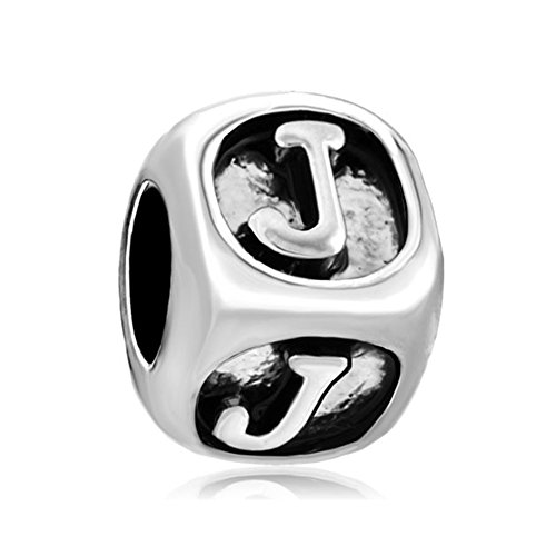 Q&Locket Dice Shaped Letter J Initial Alphabet Bracelet Charms Silver Plated Beads For Bracelet