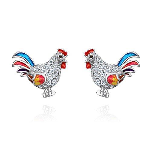 EVER FAITH Women's 925 Sterling Silver CZ Multicolor Enamel Rooster Animal Pierced Stud Earrings Clear
