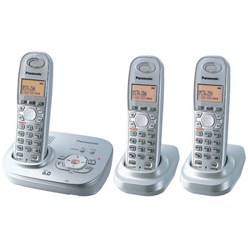 Panasonic KX-TG6323PK DECT 6.0 Digital Expandable Cordless Phone with All-Digital Answering System - 1 Base, 3 Hand sets, 2 chargers - (Panasonic Silver Expandable Telephone)