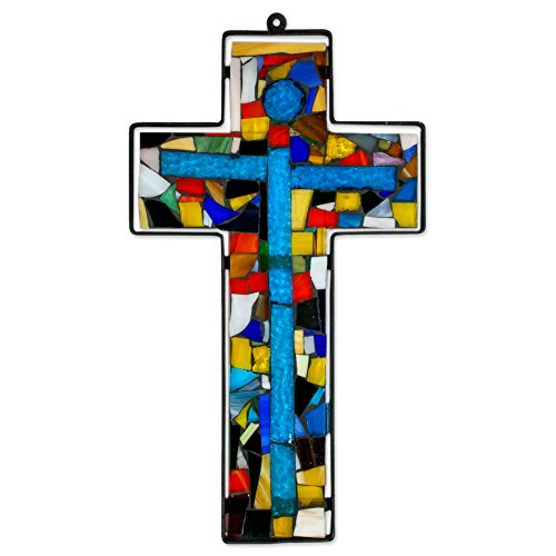 NOVICA Religious Large Stained Glass Wall Cross, , 'Holy Cross'
