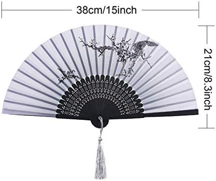 折りたたみ手のファン 中国風竹扇子フリンジ中空ファン扇風機ハンドヘルドファン竹ファン用壁装飾 (Color : A)