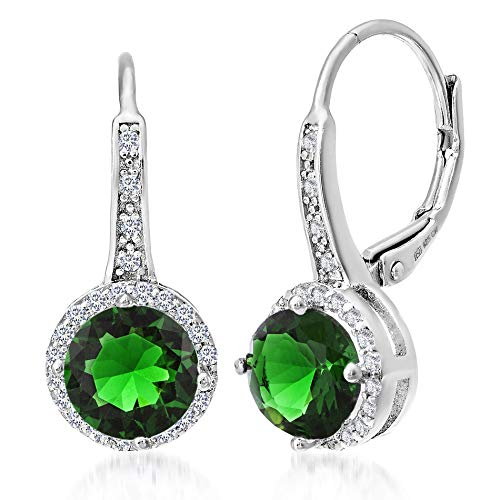 (MIA SARINE Simulated Emerald and Cubic Zirconia Halo Leverback Dangle Bridal Gift Earrings for Women for in Rhodium Plated Sterling Silver (Green))