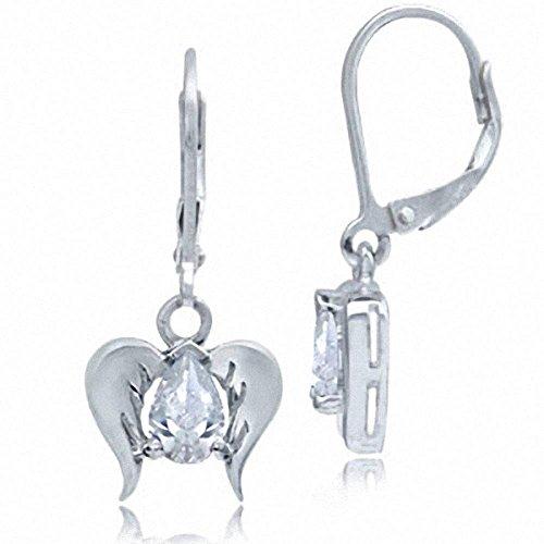 (White CZ 925 Sterling Silver Angel Wings Dangle Leverback Earrings)