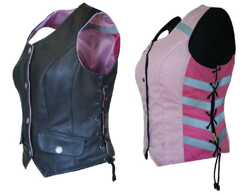 Harley Davidson Reflective Vest - Missing Link Women's G2 D.O.C. Reversible Safety Vest (Black/Pink, XXX-Large)