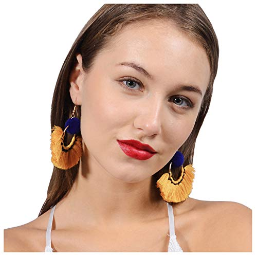 - Tassel Earrings, Gifts for Women. Fashion New Boho Drop Dangle Tassel Earrings Handmade Rattan Round Ladies Jewelry (Yellow 01)
