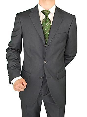 Giorgio Napoli Men's Suit Three Button Jacket Side Vents Pleated Pants (40 Short US / 50S EU / W 34