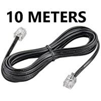 River Fox 2C - 10 Meter RJ11 Telephone Modem Line Cable (Black) (Pack of 1)
