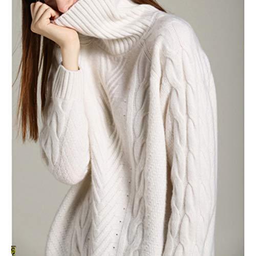 Larga Alto Mujer Niñas Suéter White Con color Para Size L Cuello Pink De Cachemir Manga Mifusanahorn 0qwTzt0