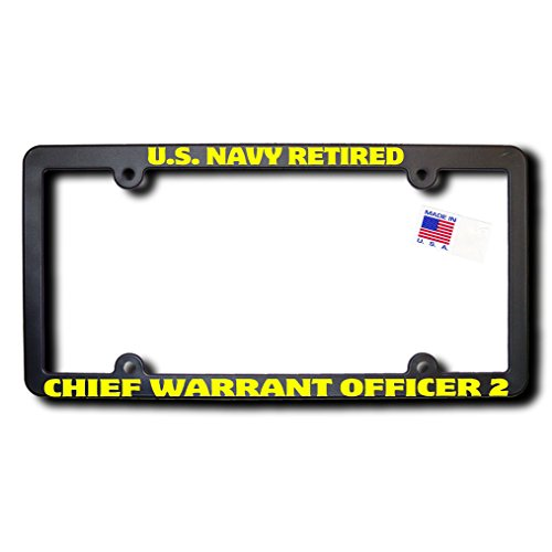 US NAVY Retired CHIEF WARRANT OFFICER 2 License Frame w/Yellow ()