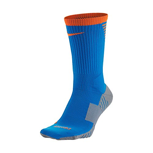 NIKE STADIUM SOCCER CREW (Blue/Orange/Grey, Large) (Kids Soccer Socks Nike)