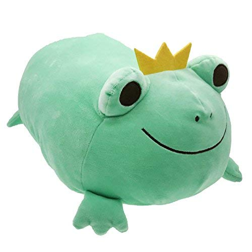 (Frog Stuffed Animal Stretchy Frog Plush Pillow with Crown Cuddly Adorable Gift for Kids Creative Decoration 14 Inches Green)